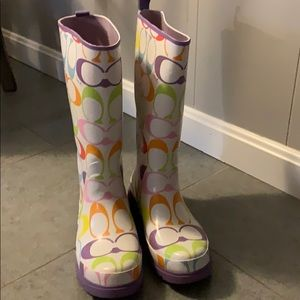 Coach paisley rain boots